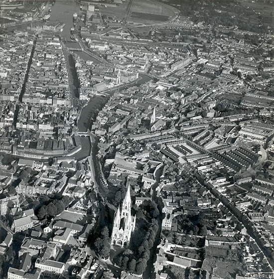 View of the South Channel from the west with St Fin Barre's Cathedral in the foreground (Aerofilms Ltd. 1949). English Heritage Permit No. 3658.