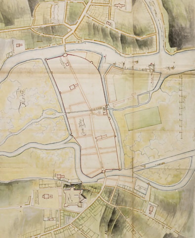 A coloured version of the military survey by Thomas Phillips (1685) on which Story's later plan is probably based (see header above).